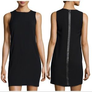 VINCE Crepe Dress With Leather Trim